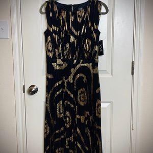Black & gold midi cocktail dress / 10